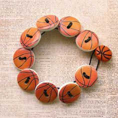 Basketball Wooden Button Bracelet  Small by XOHandworks