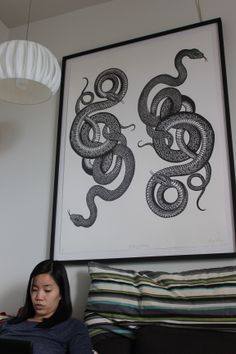 Big Snakes woodcut, in the living room.