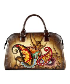 afe9b685f Look at this #zulilyfind! Brown Hand-Painted Paisley Leather Satchel by  Biacci #