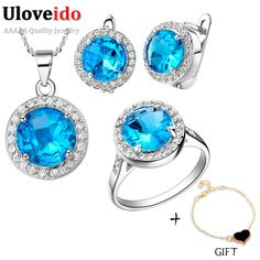 Find More Information about Uloveido Bridal Wedding Jewelry Set for Women Earrings Necklace Ring Jewelry Sets with Blue Stones Accessories Bijouterie T011,High Quality jewelry sword,China earring jewelry supplies Suppliers, Cheap jewelry stand earrings from Uloveido Official Store on Aliexpress.com
