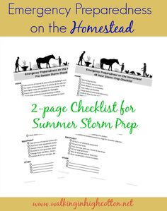 FREE 2 page checklist printable for summer storm prep on the small farm or homestead. How to get your home, livestock, buildings, and equipment ready for a storm. via Walking in High Cotton Emergency Preparedness Checklist, Daily Farm, 1000 Life Hacks, Small Farm, Living At Home, Simple Living, Prepping, Survival, Self