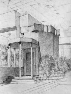 Pencil Sketches Landscape, Drafting Drawing, Architecture Sketchbook, Sketchbook Drawings, Perspective Drawing, Visual Communication, Houses, Painting, Ideas