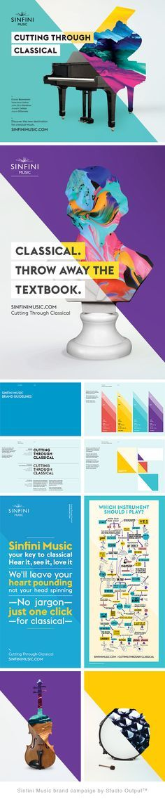 Sinfini Music 'Cutting Through Classical' brand campaign by Studio Output (TM).