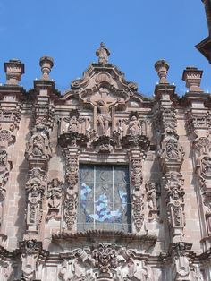 Detail on the front of one of the many beautiful churches in San Miguel de Allende.
