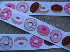 Doughnut ribbon donut ribbon breakfast ribbon sweet ribbon Cooking grosgrain hair bow ribbon by the yard supplies Ribbon Hair Bows, Grosgrain, 2nd Birthday, Doughnut, Donuts, Ribbons, Sweet, Handmade, Party Ideas