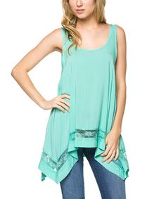 Look at this #zulilyfind! Mint Lace Handkerchief Tank #zulilyfinds