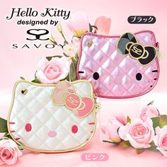 Hello Kitty x SAVOY Collaboration Face Shaped Mini Compact Mirror Jacquard Black & Pink SANRIO JAPAN