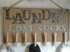 lost socks sign for laundry room | Lost Sock holder for your LAUNDRY ROOM by CraftsByJoyice on Etsy