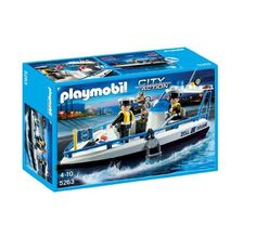Toy Patrol Boat Playmobil Kids City Action Children Play Accessories 2 Figures