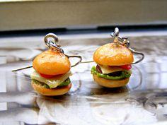 Polymer Clay Burger Earrings Polymer Clay Food by Sweetystuff