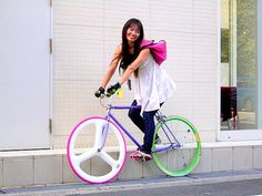 Fixed Gear Blog: Japanese Girls On Fixed Gear Bikes Again. Well, Not Really.
