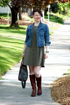 Already Pretty outfit featuring denim jacket, sustainable dress, Frye boots, J.W. Hulme tote