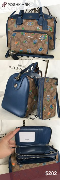 🍀Coach Set🍀 100% Coach Purse Crossbody and Wallet, both brand new with tag!.😍😍color Brown Blue/Multi. Great gift for Mother's Day!.❤️❤️❤️ Coach Bags Crossbody Bags