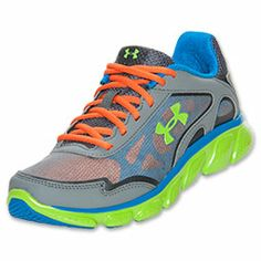 new product b55f4 3daaf Boys  Gradeschool Under Armour Pulse Running Shoes   FinishLine.com    Grey Blue Green