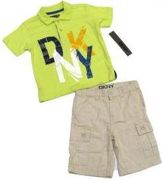 DKNY Boys 2T Green Polo Shirt and Khaki Shorts Set