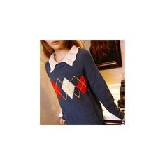 Pointelle Collar Argyle Sweater ($30) ❤ liked on Polyvore featuring tops, sweaters, sweatshirt, women, blue knit sweater, blue sweater, knit sweater, blue top and blue argyle sweater