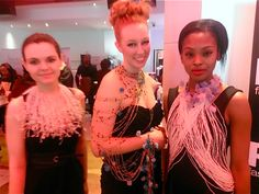 Left to right: Models Roseanne Ludwigson in Dandelion necklace, Adele Thurston in Slither necklace/bracelet, and Jasmine Edwards in Splendor halter all from Michelle Pajak-Reynolds Petals Collection featured at Nolcha Fashion Week's Fashion Lounge and Media Brunch