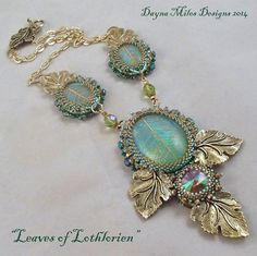 Leaves of Lothlorien  Bead Embroidery by DaynaMilesDesigns on Etsy, $170.00