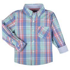 Mint,Coral,Blue Plaid LongSleeve Button-down Shirt