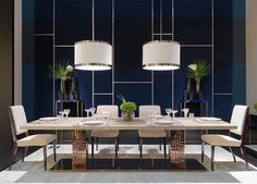 Fendi Casa - Bernini Emerald table, Stardust and Romance chairs #Fendi #LuxuryLivingGroup