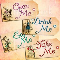 Alice Vintage Tags Set 2, Alice in Wonderland Tags, SALE ITEM, labels, perfect for parties, presents and invitations.