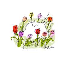 Tulip Cat Card Set of 4 Thank You by jamieshelman on Etsy, $14.00