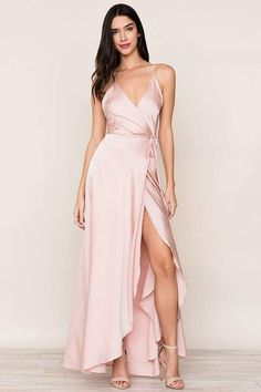 Our flowing Rush Hour Pink Silk Maxi Dress is your new go-to from weddings to running around the city. The wrap maxi dress includes a crossover bodice with deep v-neckline. Pink Silk Dress, Satin Dresses, Sexy Dresses, Evening Dresses, Dresses With Sleeves, Gowns, Formal Dresses, Pink Satin, Pretty Prom Dresses