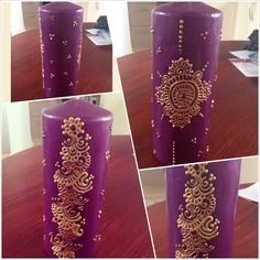 Purple candle with copper and gold design.