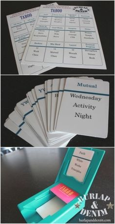 Personal Progress taboo game. Would be great for personal progress night!