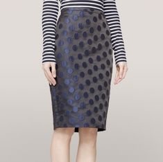 e334d40330 EUC J. CREW Satin Black Navy Polka Dot Brocade Pencil Skirt Size 4 Orig.