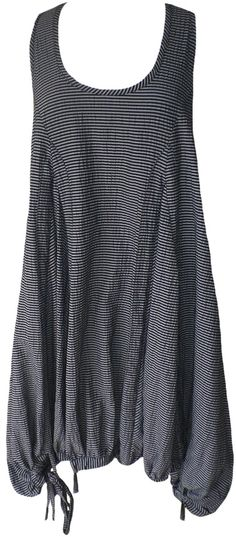 Kedem Sasson: Black & gray striped parachute balloon dress