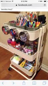 ideas to organize kids art and craft supplies using the ikea raskog utility cart. - Home Decor -DIY - IKEA- Before After Raskog Ikea, Craft Room Storage, Craft Organization, Ikea Storage, Storage Cart, Craft Rooms, Bathroom Organization, Organizing Art Supplies, Magnetic Storage