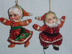 Pr Vintage Mid Century Sequined Santa and Mrs Claus Christmas Tree Ornaments