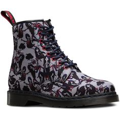 Dr. Martens Canvas Marceline Castel Ankle Boots ($104) ❤ liked on Polyvore featuring shoes, boots, ankle booties, grey, gray bootie, ankle boots, gray short boots, gray ankle boots and grey booties