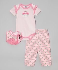 Another great find on #zulily! Pink Flamingo Bodysuit Set - Infant by Peanut Buttons #zulilyfinds