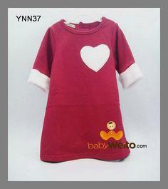 YNN 37  Dress Merah Hati  Warna sesuai gambar  Ukuran > 110 : panjang 57cm , lebar dada 32cm > 120 : panjang 60cm , lebar dada 37cm > 130 : panjang 62cm , lebar dada 38cm  IDR 110*