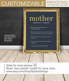 Personalized Gifts For Mom From Daughter Custom Birthday Gift Definition Sign Unique Mothers Day Print On Canvas