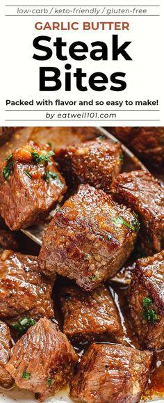 Garlic Butter Steak Bites – – Packed with flavor and so easy to make! These garlic butter steak bites are crazy delicious. – by Garlic Butter Steak Bites – – Packed with flavor and so easy to make! These garlic butter steak bites are crazy delicious. Healthy Meats, Healthy Meat Recipes, Meat Recipes For Dinner, Beef Recipes, Cooking Recipes, Beef Steak Recipe, Sizzle Steak Recipes, Recipes With Steak, Beef Dinner Ideas