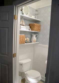 Shelves in water closet