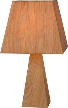 Lucide Trivio - Tafellamp - Hoogte 60cm - Houten voet/Houtfineer kap