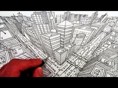 How to Draw a City in Three-Point Perspective - YouTube