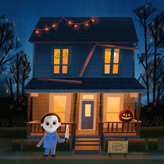 Joey Chou : To continue the horror movies series I did from last year. Halloween Cartoons, Halloween Movies, Halloween Horror, Halloween Art, Halloween Season, Halloween Stuff, Happy Halloween, All Horror Movies, Horror Films