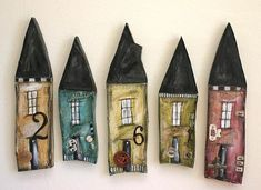 by Lisa Kaus. Interesting idea for ceramic and mixed media house numbers Clay Houses, Ceramic Houses, Miniature Houses, Wood Houses, Ceramic Wall Art, Little Houses, Small Houses, Handmade Home, House In The Woods