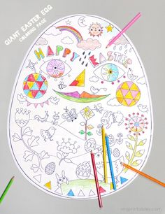 Free Easter Printables: Giant Easter Egg Coloring Page Giant Easter Eggs, Easter Art, Hoppy Easter, Easter Crafts For Kids, Easter Bunny, Egg Crafts, Easter Ideas, Free Easter Coloring Pages, Coloring Easter Eggs
