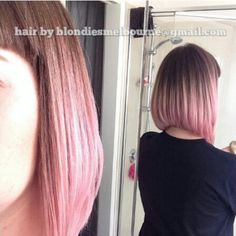 blondieshair: Pink pastel ombré graduated bob and bangs