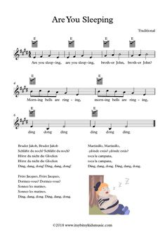 This is a sheet of the nursery rhyme Are You Sleeping (Frère Jacques) with chords and Lyrics in four different languages: English, german, french and spanish. Silly Songs, Songs To Sing, Kids Songs, Baby Lyrics, Great Song Lyrics, Music Lyrics, Nursery Rhymes Lyrics, Nursery Rhymes Songs, Kindergarten Songs
