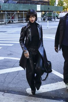 Get the Look: Rihanna's New York City Rihanna For River Island Cutout Back Turtleneck Bodysuit and Proenza Schouler Pleated Wide-Leg Pants