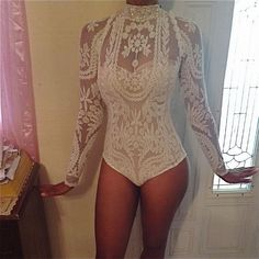 UNIQUE SHEER FOREVER IVORY RARE COUTURE LACE BODYSUIT JOVANI AQUA NASTY GAL #Handmade #Tunic #Clubwear