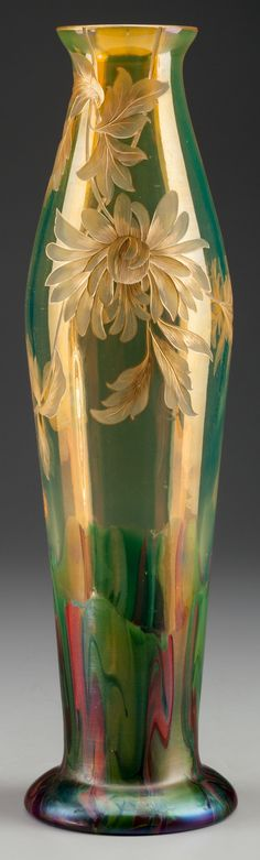 Rare Graf Harrach Enameled and Engraved Opalescent Glass Floral Vase circa 1900 14 Inches High. Art Nouveau, Antique Glass, Antique Art, Art Of Glass, Glass Vase, Glas Art, Murano, Bottle Vase, Belle Epoque