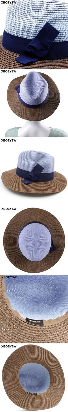 afbdcd77f34e5 XBOEYSW Wide Brim Floppy Foldable Sun Hat Summer Hat For Women Beach Straw  Hat  SunHatsForWomen